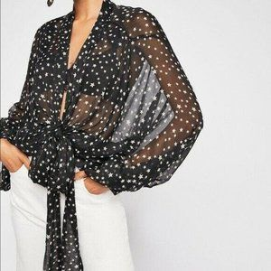 Free People Star Gazed Kimono Blouse Top Rare